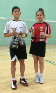 U13 triple winners L Masson and B Li