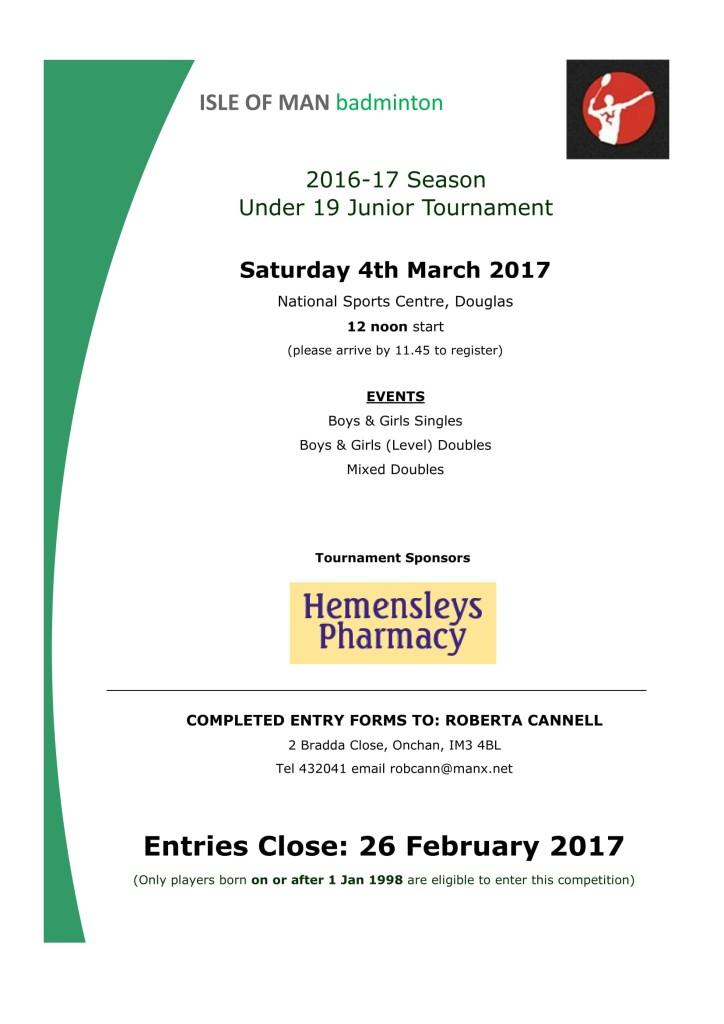 U19 Hemensleys Pharmacy sponsored tournament entry information 2017-1